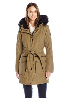 Lucky Brand Women's Mid Length Down Puffer with Belt and Faux Fur Hood  L