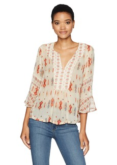 Lucky Brand Women's Mix Print Boho Top