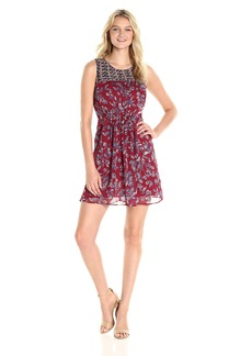 Lucky Brand Women's Red Mixed Print Dress