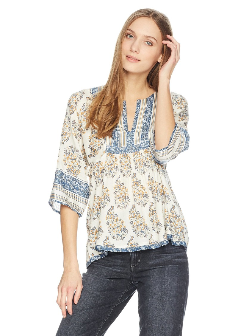 Lucky Brand Women's Mixed Print Peasant TOP NATIURAL Multi XS
