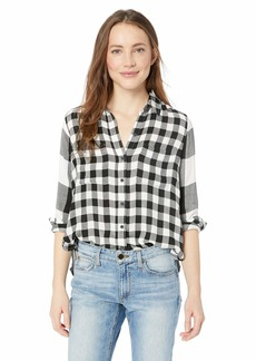 Lucky Brand Women's Mixed Print Plaid Button UP Shirt  XL