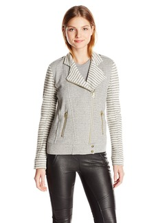 Lucky Brand Women's Mixed Stripe Moto Jacket  Small
