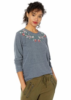 Lucky Brand Women's Necklace Embroidered Novelty Sweatshirt  M