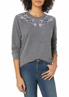 Lucky Brand Women's Necklace Embroidered Novelty Sweatshirt  XS