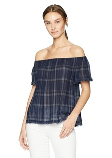 Lucky Brand Women's Off Shoulder Plaid TOP  S