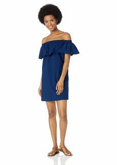 Lucky Brand Women's Off Shoulder Ruffle Swimwear Cover Up Dress Navy//Belle air