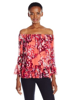 Lucky Brand Women's Off The Shoulder Floral Top