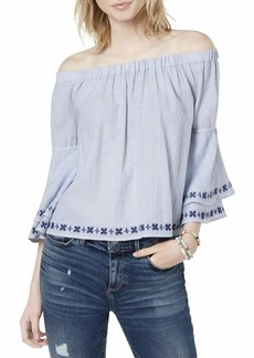 Lucky Brand Women's Off The Shoulder Embroidered TOP  XL