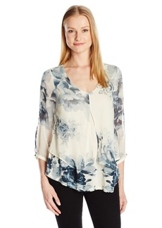 Lucky Brand Women's Open Floral Printed Top