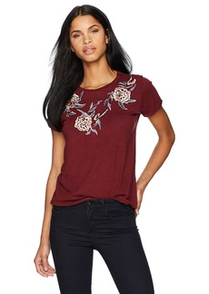 Lucky Brand Women's Oversized Floral Embroidered Tee  M