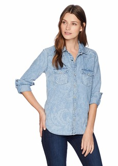 Lucky Brand Women's Paisley Denim Western Shirt  XS