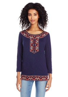 Lucky Brand Women's Paisley Embroidered Top