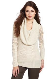 Lucky Brand Women's Paula Pointelle Cowl Neck Sweater