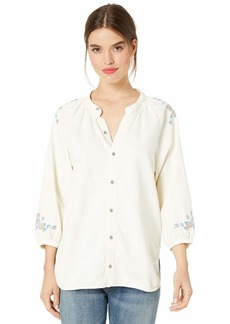 Lucky Brand Women's Peasant Shirt with Embroidery  L