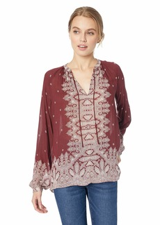 Lucky Brand Women's Peasant TOP with Contrast Border Print  M