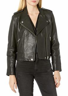 Lucky Brand Women's Pebble Leather Moto Jacket  X Large