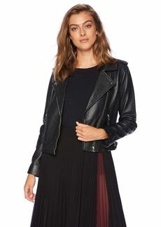 Lucky Brand Women's PIN DOT Moto Jacket Black M