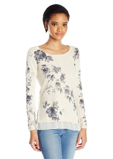 Lucky Brand Women's Placed Floral Pullover Sweater