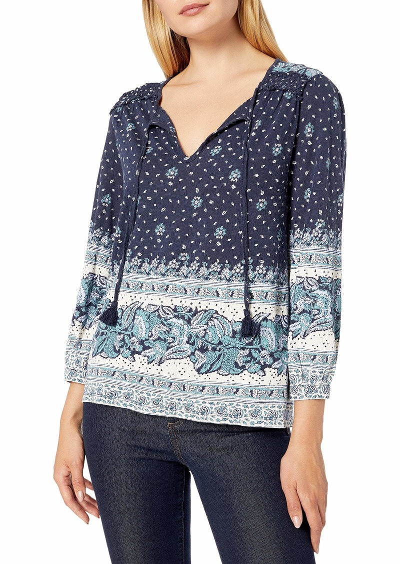 Lucky Brand Women's Placed Print Knit Peasant Top  S