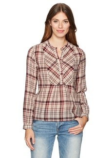Lucky Brand Women's Plaid Peasant Top
