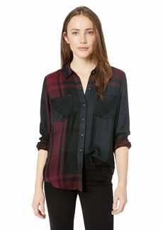 Lucky Brand Women's Pleat Back Chenille Plaid Button UP Shirt  L