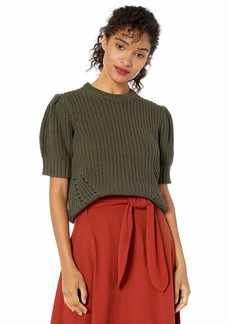 Lucky Brand Women's Pleat Shoulder Short Sleeve Sweater  XL