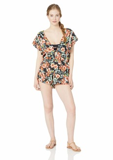 Lucky Brand Women's Plunge Front Swimwear Cover Up Romper