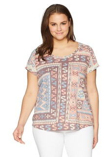 Lucky Brand Women's Size Plus Allover Print TEE