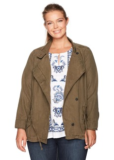 Lucky Brand Women's Plus Size Asymmetrical Military Jacket