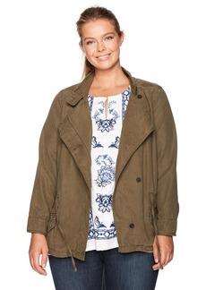 Lucky Brand Women's Plus Size Asymmetrical Military Jacket Dark SAGE