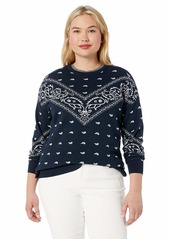 Lucky Brand Women's Plus Size Bandana Intarsia Sweater