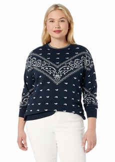 Lucky Brand Women's Plus Size Bandana Intarsia Sweater