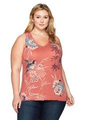 Lucky Brand Women's Plus Size Birds Flower Scroll Tank Top