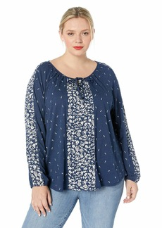Lucky Brand Women's Plus Size Blue Bandana Print Border Peasant TOP