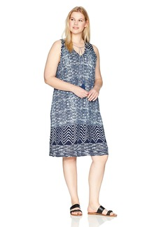 Lucky Brand Women's Plus Size Blue Batik Dress  1X