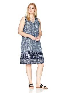 Lucky Brand Women's Plus Size Blue Batik Dress  2X