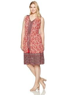 Lucky Brand Women's Plus Size Border Print Midi Dress red/Multi 1X