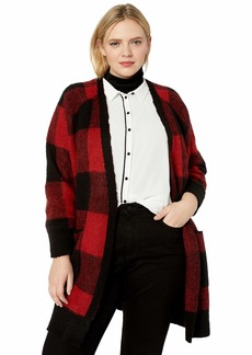 Lucky Brand Women's Plus Size Buffalo Plaid Cardigan Sweater red/Multi
