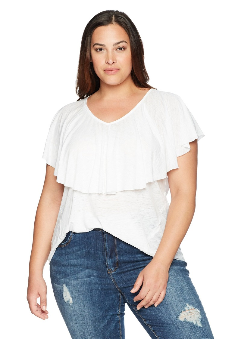 Lucky Brand Women's Plus Size Burnout Ruffle TEE