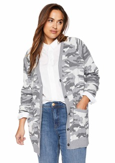 Lucky Brand Women's Plus Size Button Front CAMO Cardigan Sweater