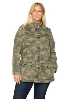 Lucky Brand Women's Plus Size CAMO Jacket Olive Multi 2X