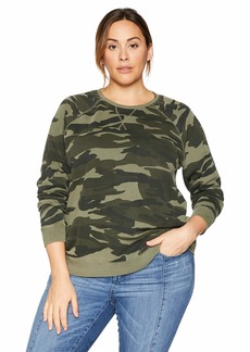 Lucky Brand Women's Plus Size CAMO Pullover Sweatshirt