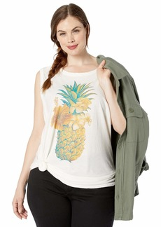 Lucky Brand Women's Plus Size Colorful Pineapple Tank TOP