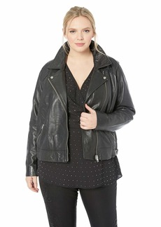 Lucky Brand Women's Plus Size CORE Leather Moto Jacket
