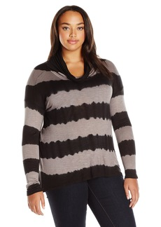 Lucky Brand Women's Plus Size Cowlneck Tunic in Black Multi