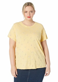 Lucky Brand Women's Plus Size Daisy All Over Embroidered TEE