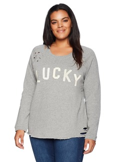 Lucky Brand Women's Plus Size Deconstructed Pullover Sweatshirt