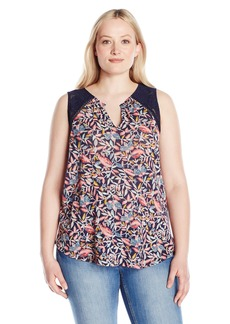 Lucky Brand Women's Plus Size Della Floral Tank Top