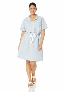 Lucky Brand Women's Plus Size Denim Drawstring Dress  2X