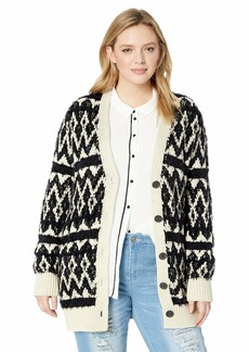 Lucky Brand Women's Plus Size Diamond Fairisle Cardigan Sweater